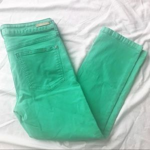 Anthropologie Light Green Cropped Skinny Jeans